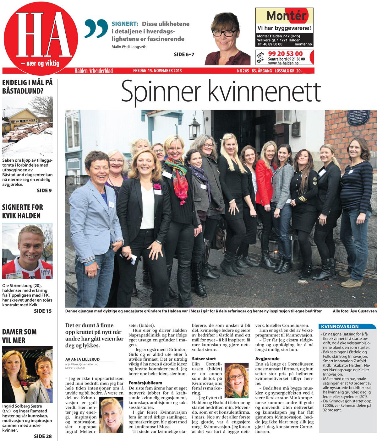 Kvinner som våger konferanse i Moss 15. november 2013, Halden Arbeiderblad