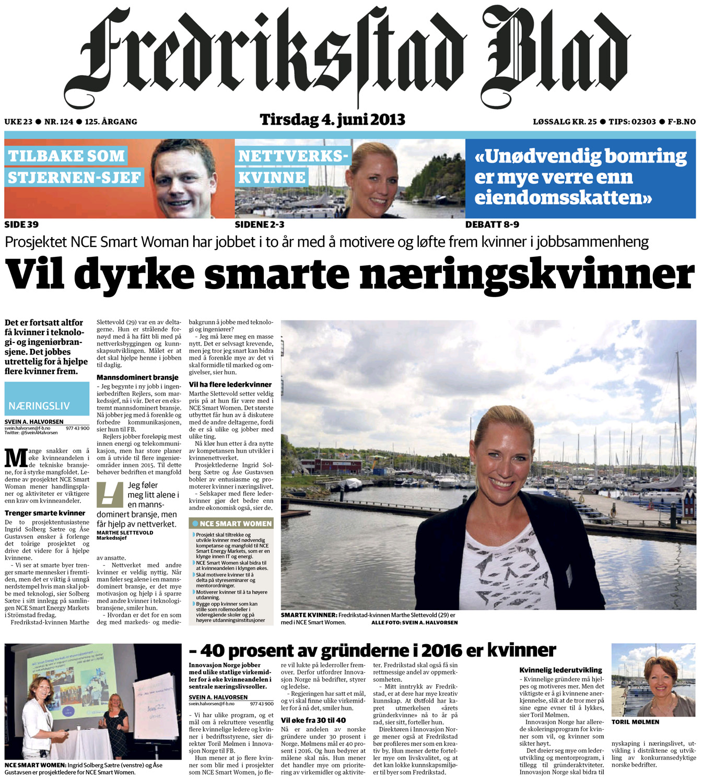 Fredriksstad Blad - NCE Smart Women - 4 jun 2013 copy